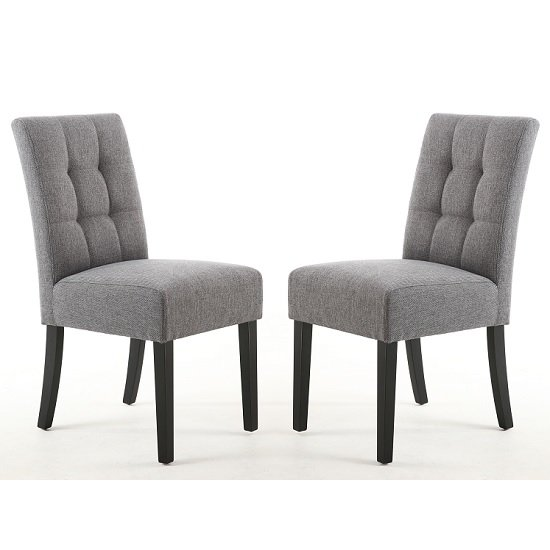 Catria Dining Chair In Steel Grey With Black Legs In A Pair