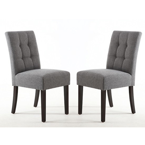 Catria Dining Chair In Steel Grey With Brown Legs In A Pair