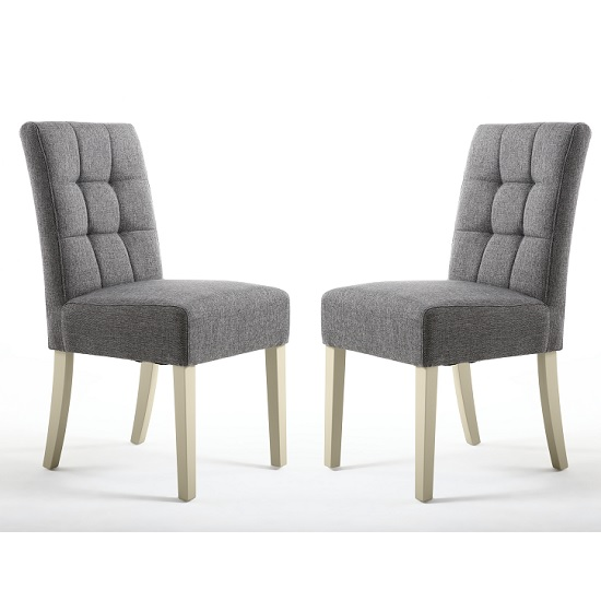 Catria Dining Chair In Steel Grey With Cream Legs In A Pair