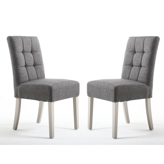 Catria Dining Chair In Steel Grey With Grey Legs In A Pair
