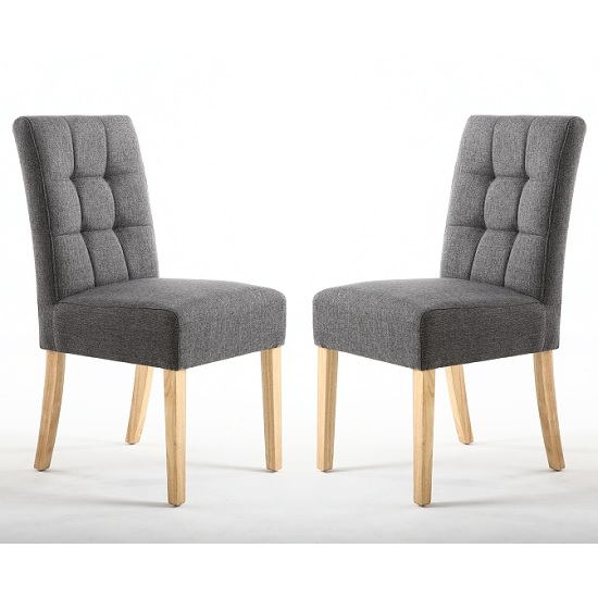 Catria Dining Chair In Steel Grey With Natural Legs In A Pair