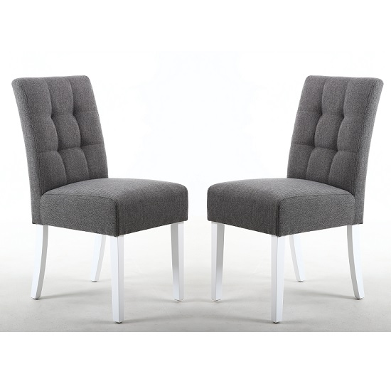Catria Dining Chair In Steel Grey With White Legs In A Pair