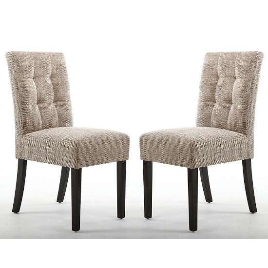 Catria Dining Chair In Tweed Oatmeal With Brown Legs In A Pair