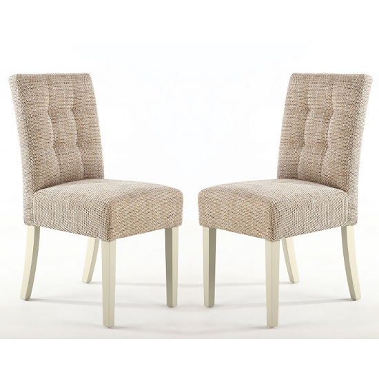 Catria Dining Chair In Tweed Oatmeal With Cream Legs In A Pair