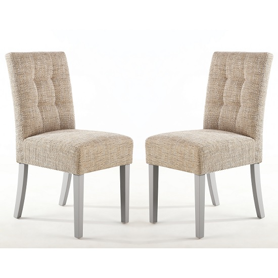 Catria Dining Chair In Tweed Oatmeal With Grey Legs In A Pair