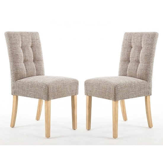 Catria Dining Chair In Tweed Oatmeal With Natural Legs In A Pair