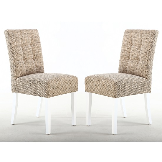 Catria Dining Chair In Tweed Oatmeal With White Legs In A Pair
