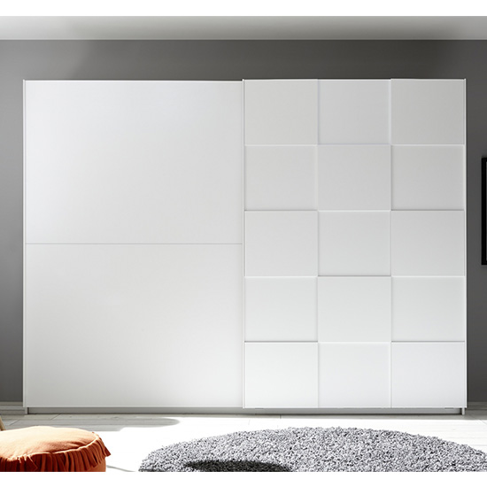 Cattio 3D Design Wooden Wardrobe In Matt White