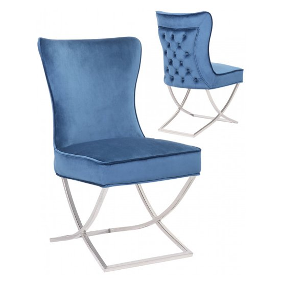 Cavalli Blue Velvet Dining Chairs In Pair
