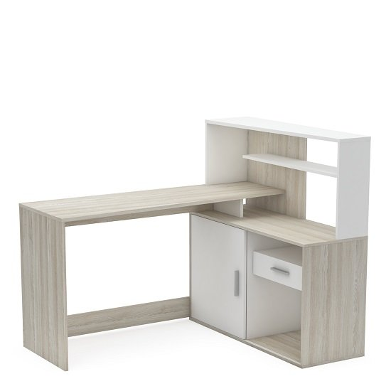 Cavalli Corner Computer Desk In Shannon Oak And Pearl White
