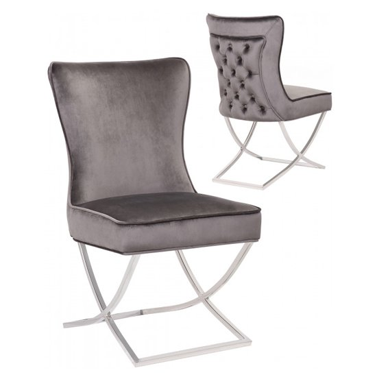 Cavalli Grey Velvet Dining Chairs In Pair