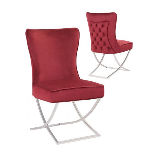 Cavalli Red Velvet Dining Chairs In Pair