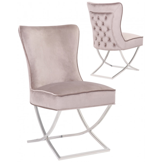 Cavalli Taupe Velvet Dining Chairs In Pair