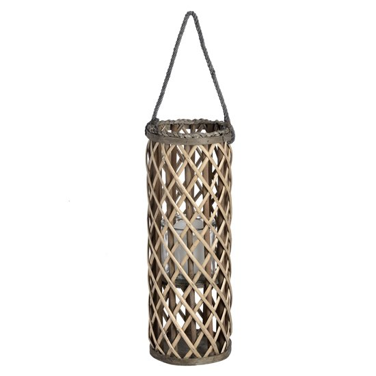 Cave Small Wicker Lantern In Brown With Glass Hurricane