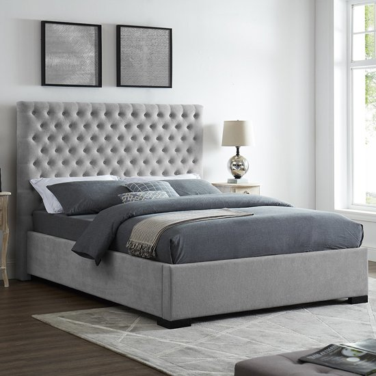Cavendish King Size Fabric Bed In Grey