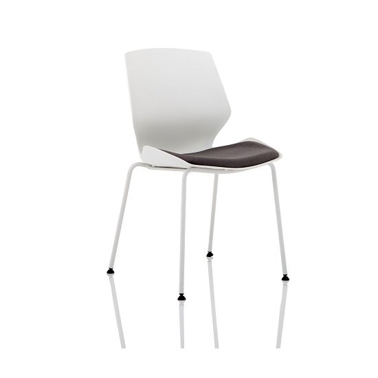 Caya Fabric Visitor Chair In White With Dark Grey Seat