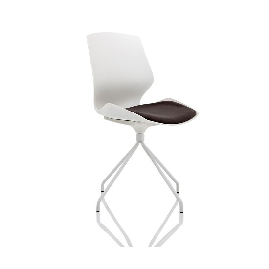 Caya Fabric Visitor Chair In White With Spindle Shaped Frame