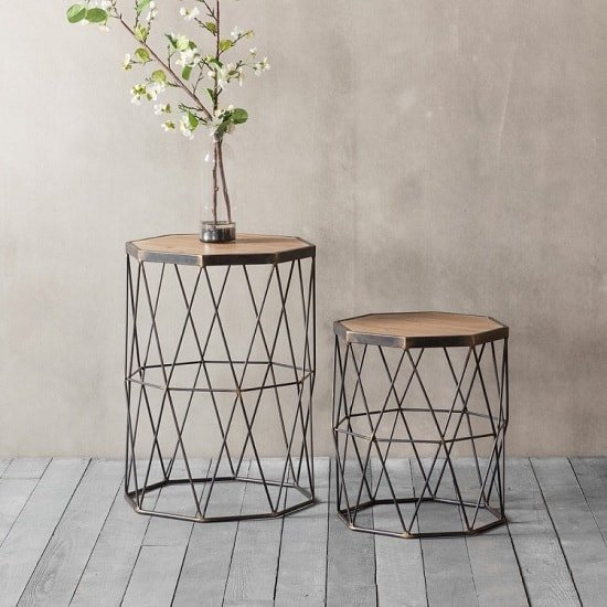 Caylee Wooden Set Of 2 Side Tables With Metal Frame