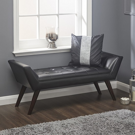 Product photograph showing Cayman Chaise In Black Faux Leather With Wooden Feet