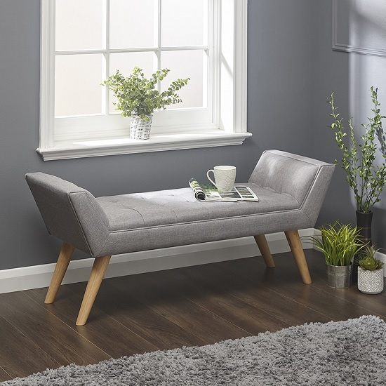Cayman Fabric Chaise In Grey Hopsack With Wooden Feet