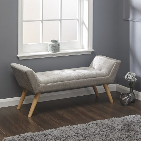 Cayman Fabric Chaise In Silver Chenille With Wooden Feet