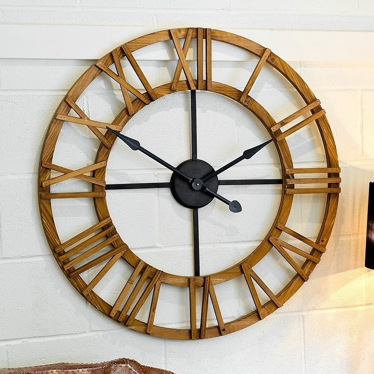 Cayman Wooden Clock With Roman Numerals_1