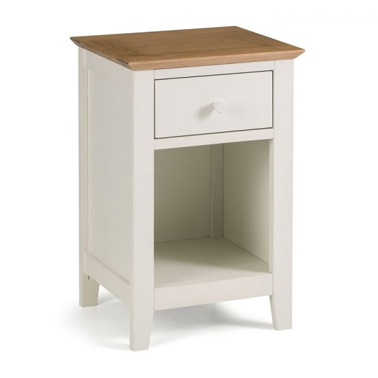 Cayuga Two Tone Bedside Table In Low Sheen Lacquer