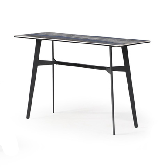 Cebalrai Glass Console Table In Blue Mist With Black Metal Legs