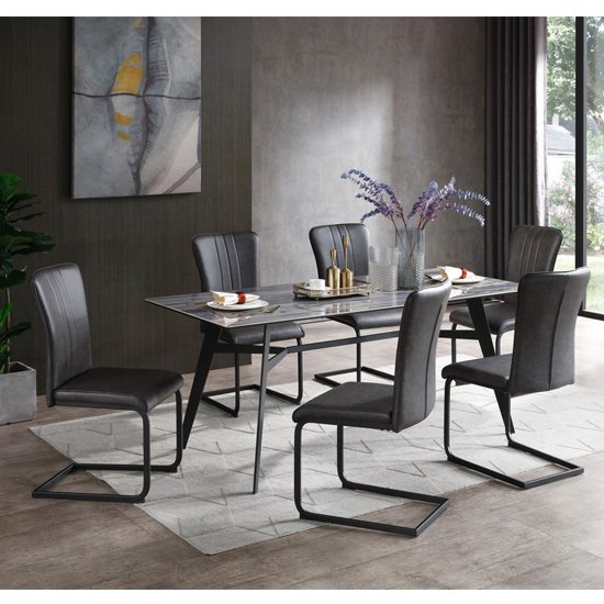 Cebalrai Glass Dining Set In Blue Mist With 6 Duplex PU Chairs