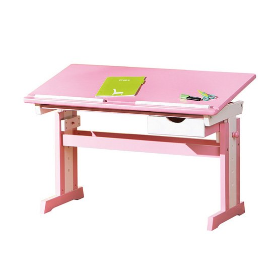 Cecilia Childrens Computer Desk In Pink Wood