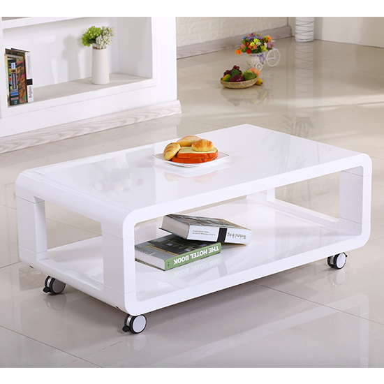 Cedar Wooden Coffee Table White High Gloss