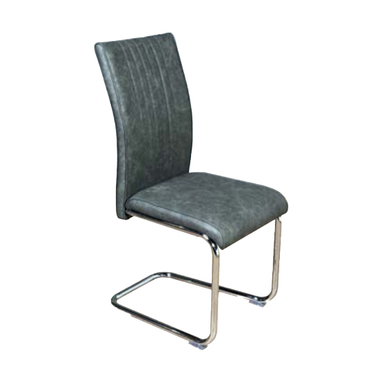 Ceibo Leather Dining Chair In Two Tone Grey
