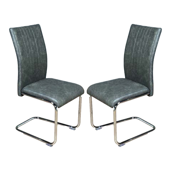 Ceibo Two Tone Grey Leather Dining Chairs In Pair