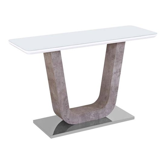 Ceibo High Gloss White Glass Top Console Table