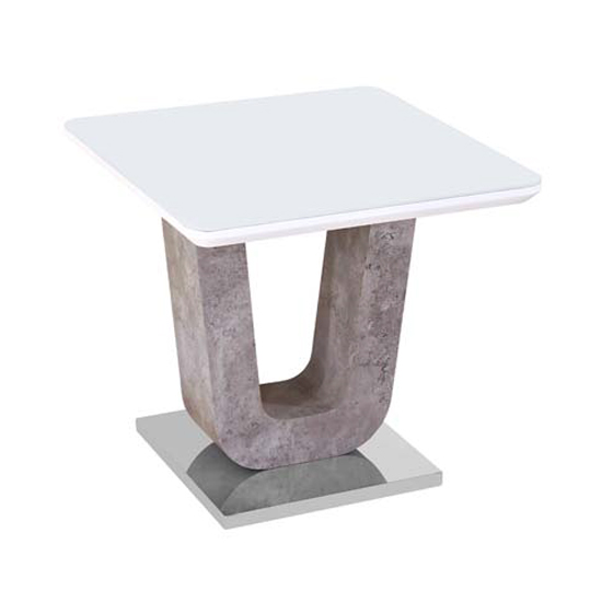 Ceibo High Gloss White Glass Top End Table_1