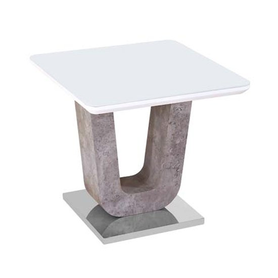 Ceibo High Gloss White Glass Top End Table