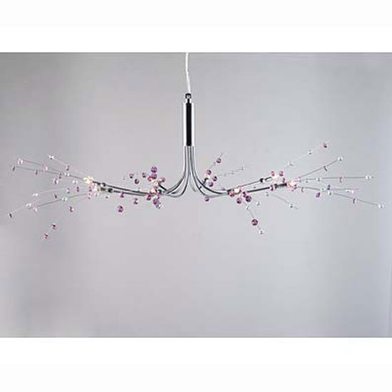 8 Light Purple Clear Ceiling Lamp Crystal