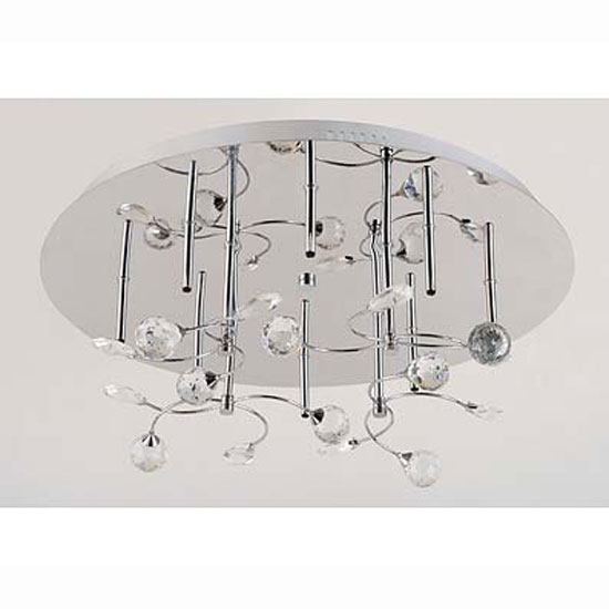 8 Light Ceiling Light Stainless Steel and Crystal