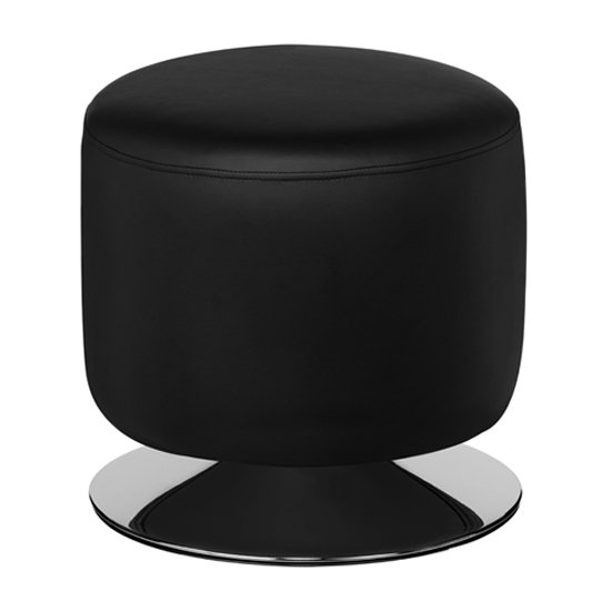 Ceko Faux Leather Cylinder Stool In Black
