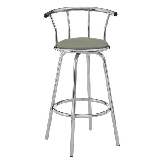 Ceko Grey Padded Seat Revolving Bar Stool In Chrome