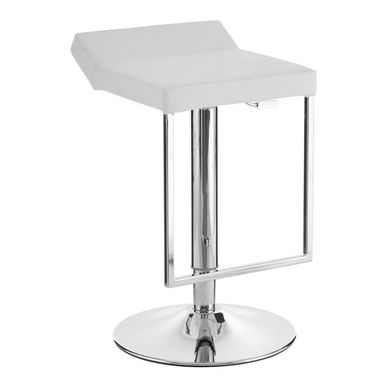 Ceko White Leather Seat Gas Lift Bar Stool With Chrome Base