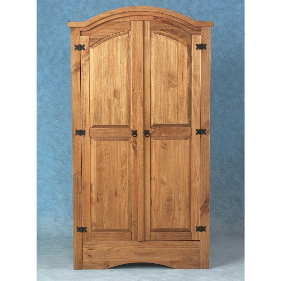 Corona 2 Door Wardrobe in Waxed Pine