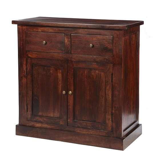 Tristo Wooden Compact Sideboard In Dark Mango With 2 Doors