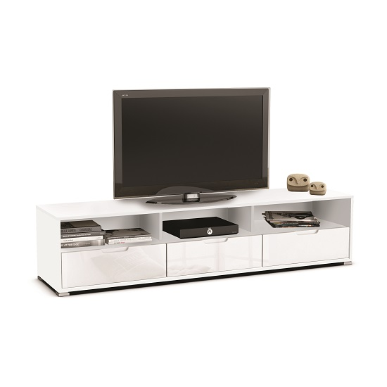 Celeste tv stand in white high gloss fronts with 3 drawers - Table tv a roulettes ...