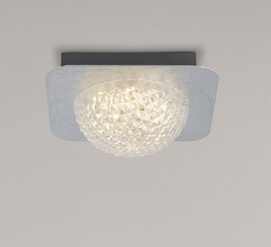 Celestia 1 LED Ceiling Light In Silver Leaf With Clear Acrylic
