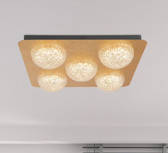Product photograph showing Celestia 5 Led Ceiling Light In Gold Leaf With Clear Acrylic