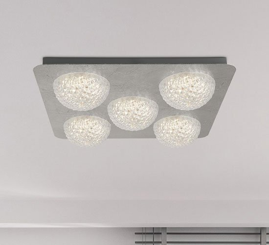 Product photograph showing Celestia 5 Led Ceiling Light In Silver Leaf With Clear Acrylic