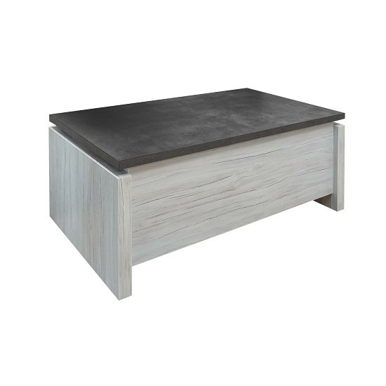 Celestine Wooden Coffee Table In Oak With Dark Concrete Top