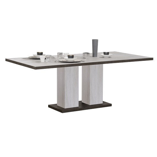 Celestine Extending Dining Table In Oak And Dark Concrete