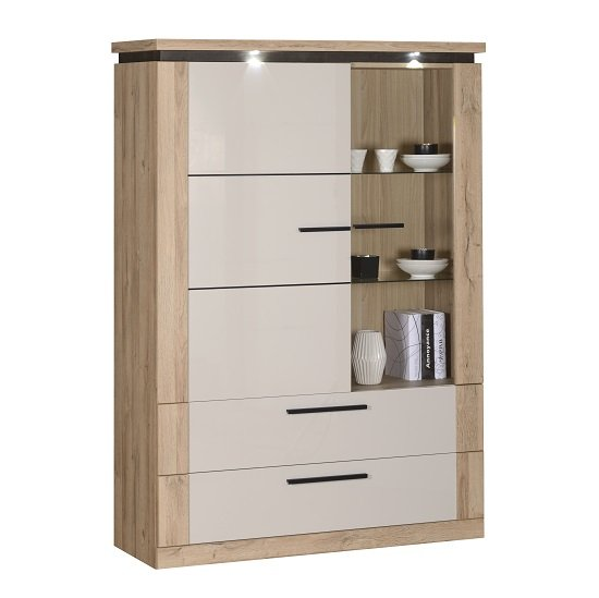 Celestine Display Cabinet In Oak And Pebble Grey With LED